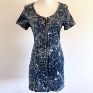Totally 80s Style Acid Wash Zip Front Dress